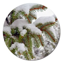 Brad Snow Winter White Green Magnet 5  (round)