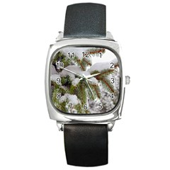 Brad Snow Winter White Green Square Metal Watch