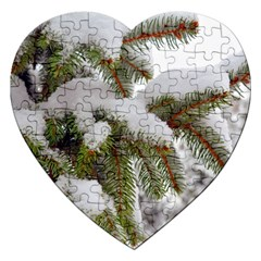 Brad Snow Winter White Green Jigsaw Puzzle (Heart)