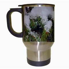 Brad Snow Winter White Green Travel Mugs (white)