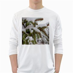 Brad Snow Winter White Green White Long Sleeve T Shirts