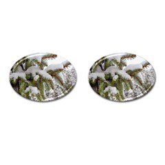 Brad Snow Winter White Green Cufflinks (oval)