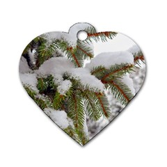 Brad Snow Winter White Green Dog Tag Heart (two Sides)