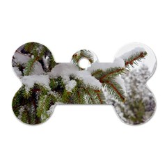 Brad Snow Winter White Green Dog Tag Bone (two Sides)