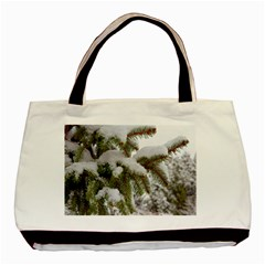 Brad Snow Winter White Green Basic Tote Bag (two Sides)