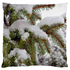 Brad Snow Winter White Green Large Cushion Case (one Side)