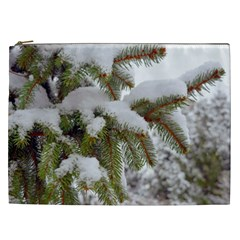 Brad Snow Winter White Green Cosmetic Bag (xxl)