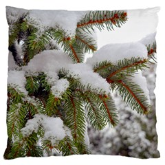 Brad Snow Winter White Green Large Flano Cushion Case (one Side)