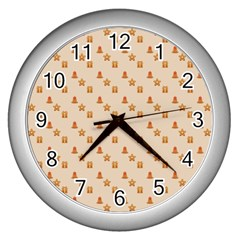 Christmas Wrapping Paper Wall Clocks (silver)