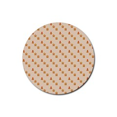 Christmas Wrapping Paper Rubber Coaster (round)