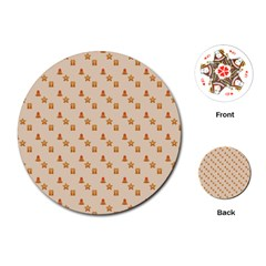 Christmas Wrapping Paper Playing Cards (round)