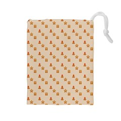 Christmas Wrapping Paper Drawstring Pouches (large)