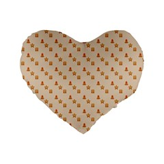 Christmas Wrapping Paper Standard 16  Premium Flano Heart Shape Cushions
