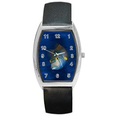 Fish Blue Animal Water Nature Barrel Style Metal Watch
