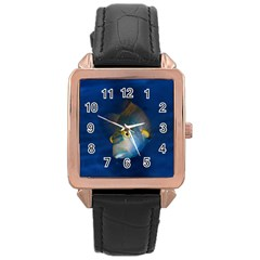 Fish Blue Animal Water Nature Rose Gold Leather Watch