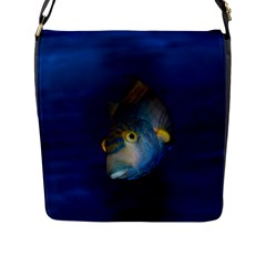 Fish Blue Animal Water Nature Flap Messenger Bag (l)