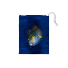 Fish Blue Animal Water Nature Drawstring Pouches (small)
