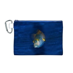Fish Blue Animal Water Nature Canvas Cosmetic Bag (m)