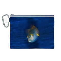 Fish Blue Animal Water Nature Canvas Cosmetic Bag (l)