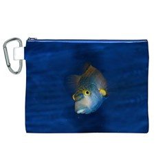 Fish Blue Animal Water Nature Canvas Cosmetic Bag (xl)