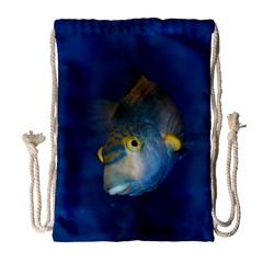 Fish Blue Animal Water Nature Drawstring Bag (Large)