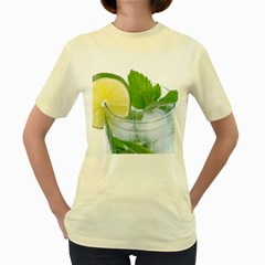 Cold Drink Lime Drink Cocktail Women s Yellow T Shirt