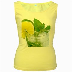 Cold Drink Lime Drink Cocktail Women s Yellow Tank Top
