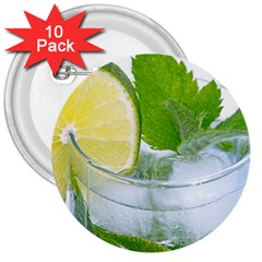 Cold Drink Lime Drink Cocktail 3  Buttons (10 Pack)