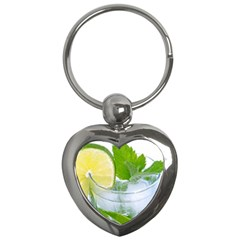 Cold Drink Lime Drink Cocktail Key Chains (heart)