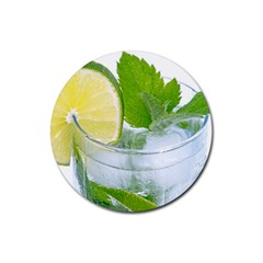Cold Drink Lime Drink Cocktail Rubber Round Coaster (4 Pack)