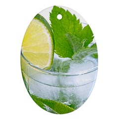 Cold Drink Lime Drink Cocktail Oval Ornament (Two Sides)