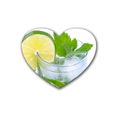 Cold Drink Lime Drink Cocktail Rubber Coaster (heart)