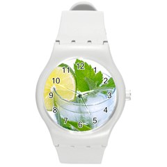 Cold Drink Lime Drink Cocktail Round Plastic Sport Watch (m)