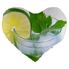 Cold Drink Lime Drink Cocktail Large 19  Premium Heart Shape Cushions