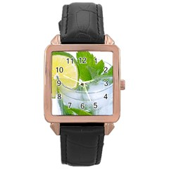 Cold Drink Lime Drink Cocktail Rose Gold Leather Watch