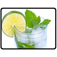 Cold Drink Lime Drink Cocktail Double Sided Fleece Blanket (large)