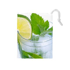 Cold Drink Lime Drink Cocktail Drawstring Pouches (medium)