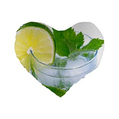 Cold Drink Lime Drink Cocktail Standard 16  Premium Flano Heart Shape Cushions