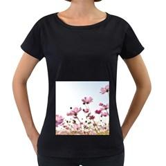 Flowers Plants Korea Nature Women s Loose-Fit T-Shirt (Black)