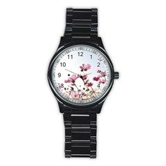 Flowers Plants Korea Nature Stainless Steel Round Watch