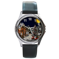 Christmas Landscape Round Metal Watch