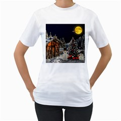 Christmas Landscape Women s T Shirt (white) (two Sided)