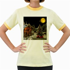 Christmas Landscape Women s Fitted Ringer T Shirts