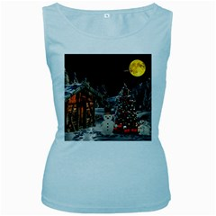 Christmas Landscape Women s Baby Blue Tank Top