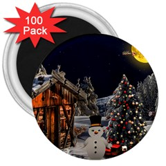 Christmas Landscape 3  Magnets (100 Pack)