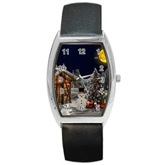 Christmas Landscape Barrel Style Metal Watch