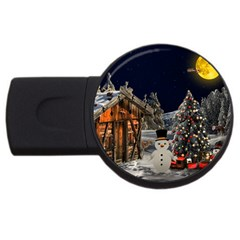 Christmas Landscape Usb Flash Drive Round (4 Gb)