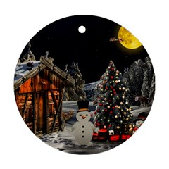 Christmas Landscape Round Ornament (two Sides)