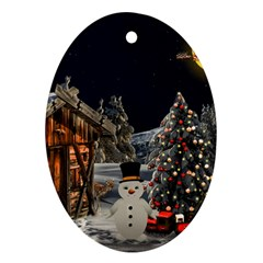 Christmas Landscape Oval Ornament (two Sides)