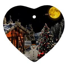 Christmas Landscape Heart Ornament (2 Sides)